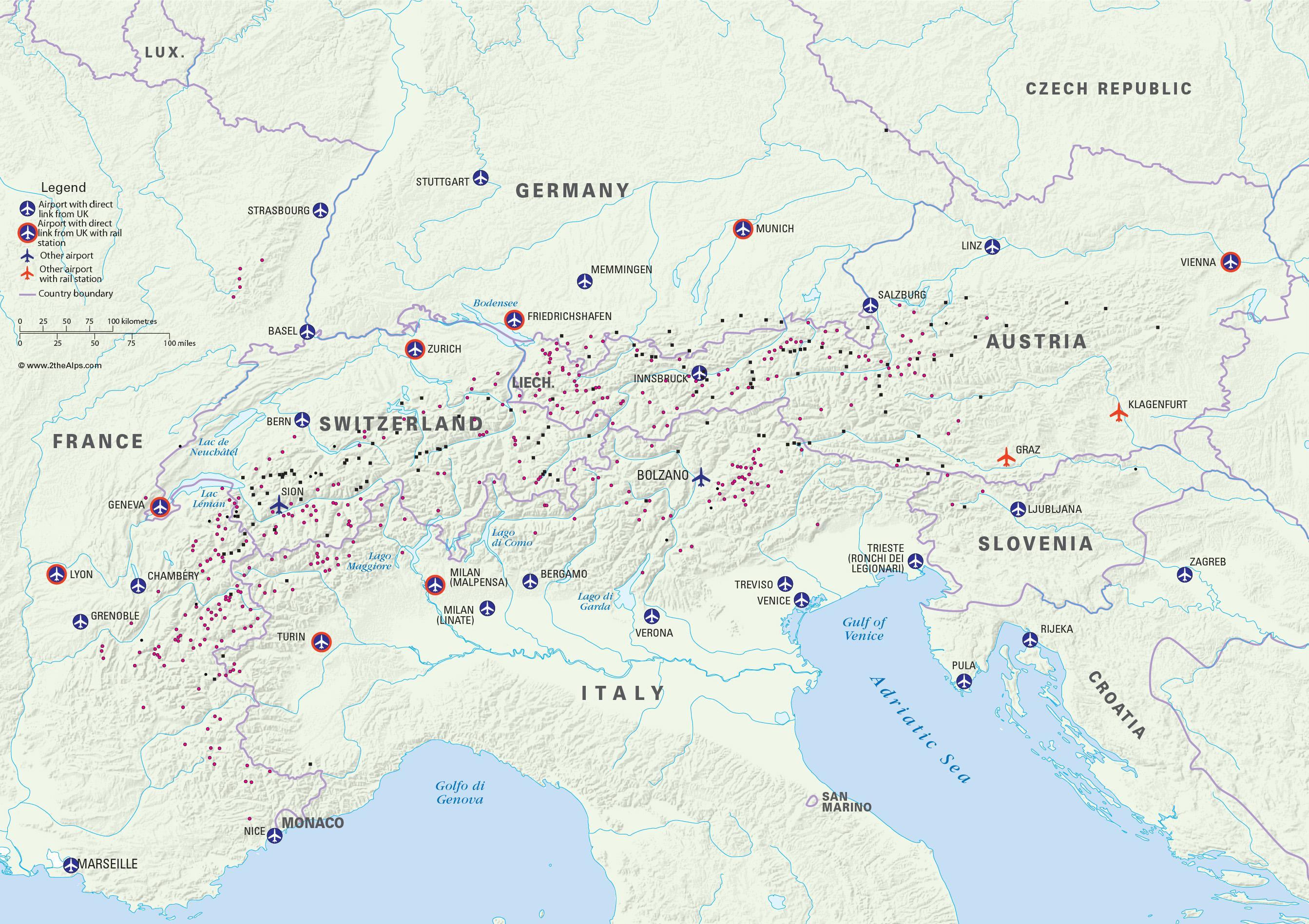 Harta Austria Statiuni De Schi Aeroporturi Harta Austria